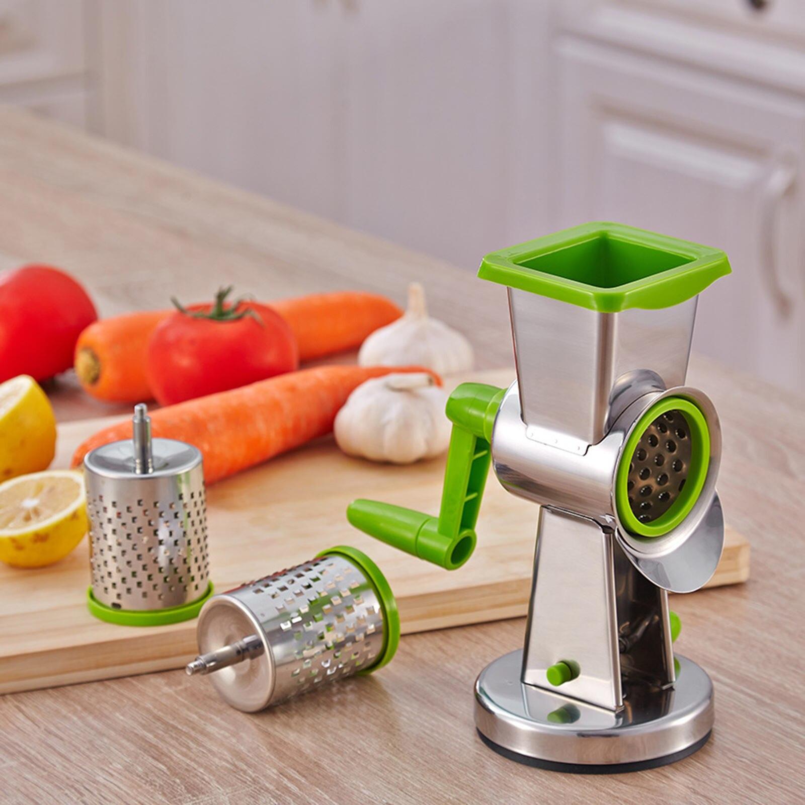 تقطيع الخضروات 3 شفرات الأسطوانة سهلة التنظيف دائم متعدد الوظائف المروحية المسوي الجبن مبشرة الروتاري دليل للمطبخ المنزل