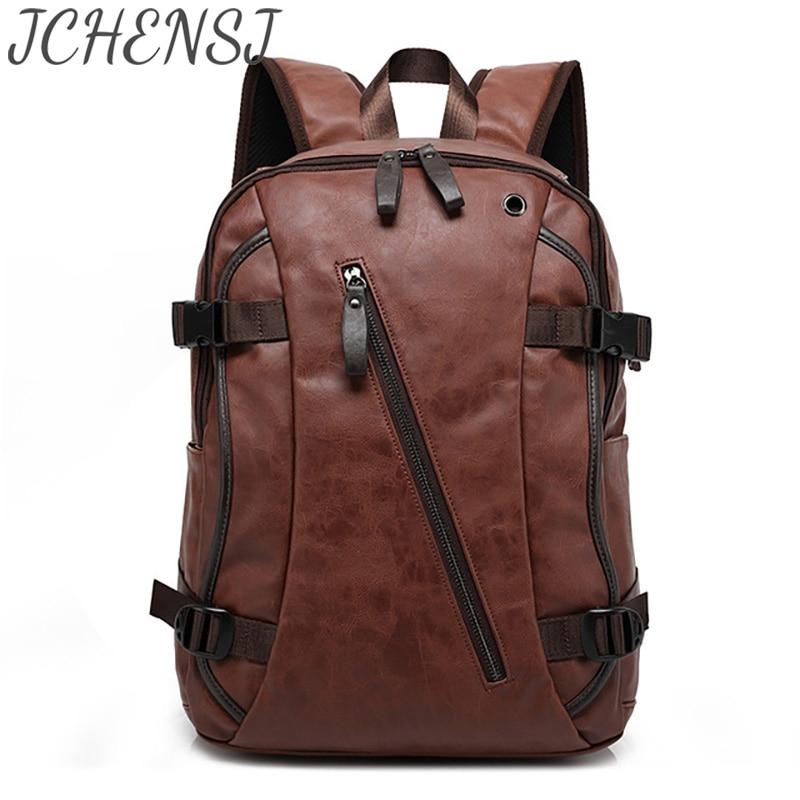 рюкзак мужской Кожаный рюкзак для ноутбука JCHENSH для мужчин, сумка для ноутбука рюкзак школьный вместительный роскошный мужской дорожный ра...