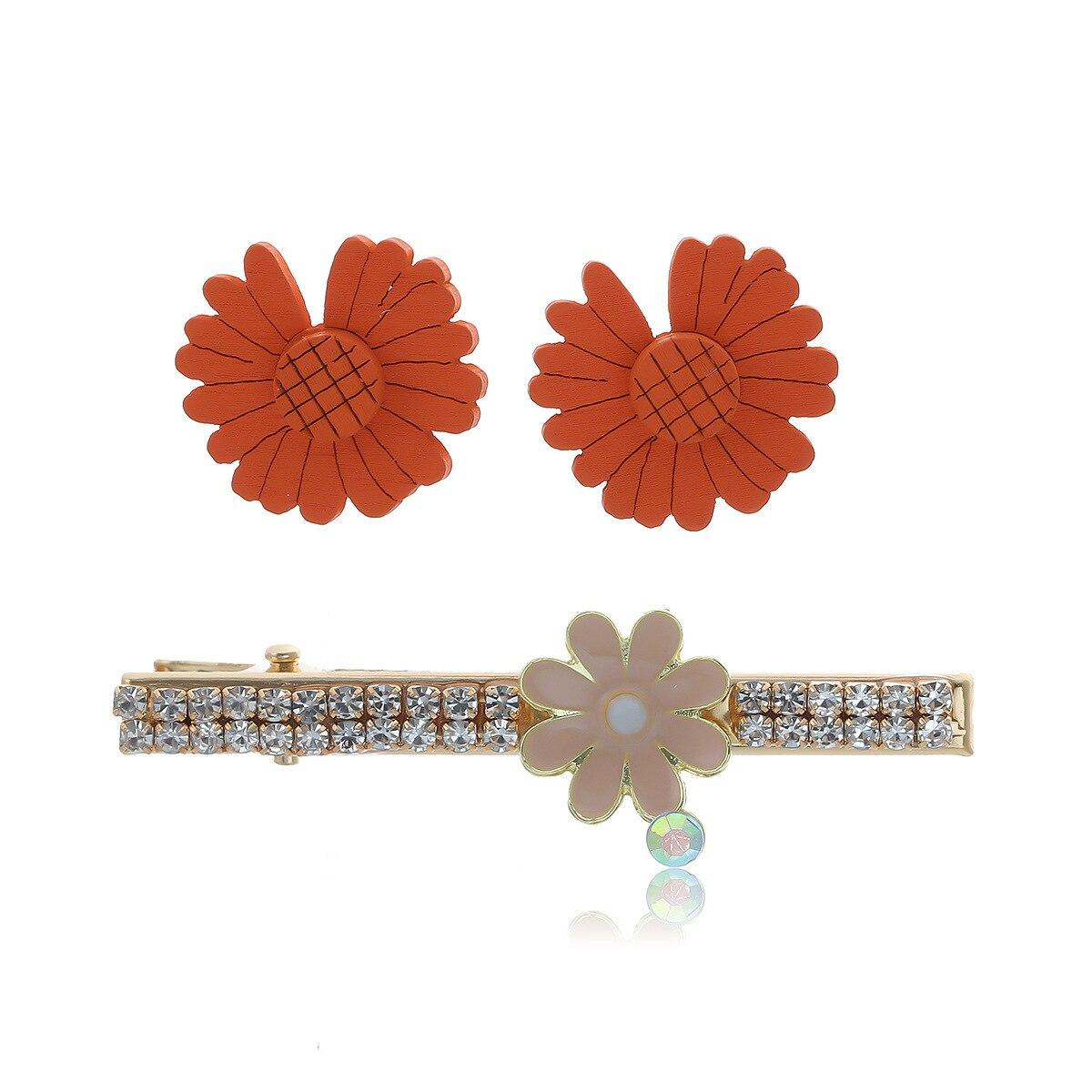 Nuevas horquillas para el cabello para mujer, accesorios para el cabello con diamantes de imitación, bonitas horquillas de margaritas y flores