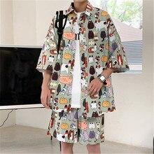 Summer Man Sets Casual Shirts And Shorts Fashion Cartoon Graffiti Print Couples Wear Oversize Two-Pi