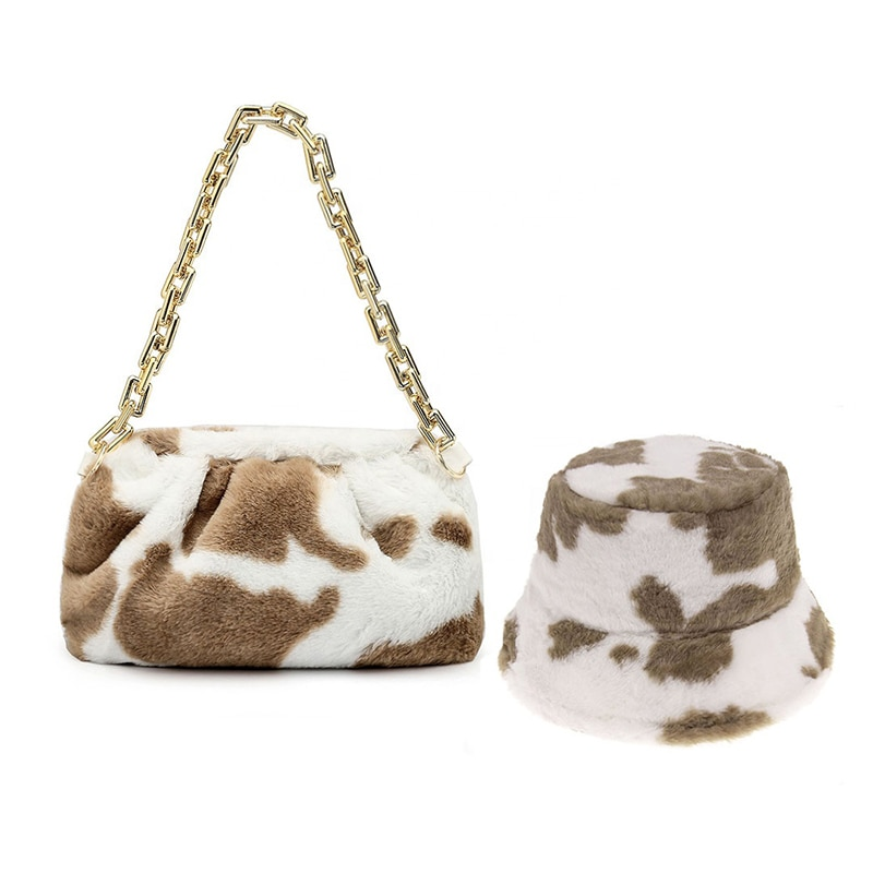 2021 Animal Print Winter Shoulder Handbags Plush Matching Fur Bucket Hat Chain Bag And Purse Set Lad
