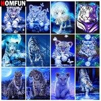 HOMFUN     peinture diamant theme  animal tigre blanc   broderie complete 5D  perles rondes ou carrees  points de croix  a faire soi-meme  decoration dinterieur