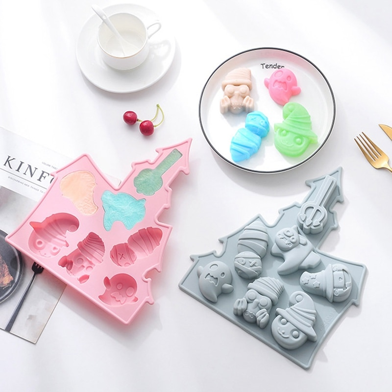 Molde de silicona para dulces, Chocolate y gelatina con 7 agujeros para Halloween Castillo fantasma Horrible torta decoración herramienta Fondant