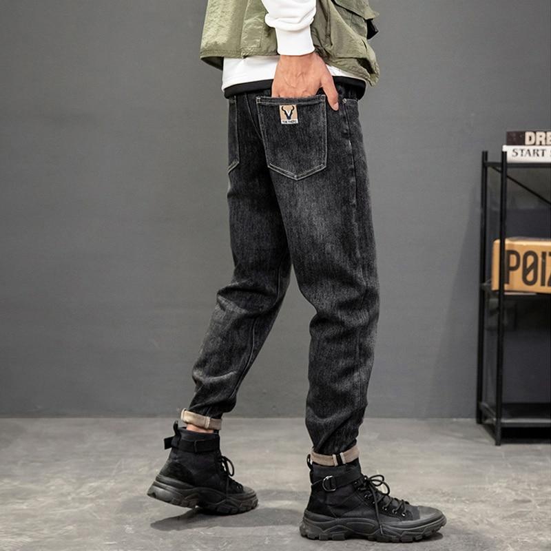 Модные мужские джинсы в Корейском стиле, высококачественные Черные Эластичные зауженные рваные джинсы в стиле ретро, мужские винтажные Диз...