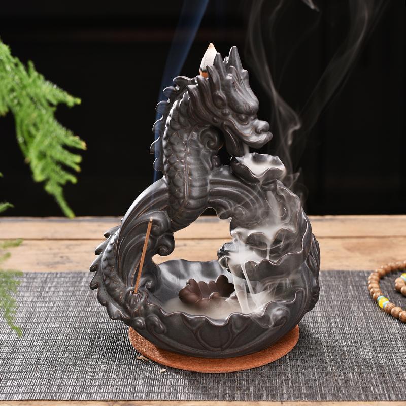 Queimador de Incenso Decoração para Casa Cerâmica Fumaça Backflow Dragão Criativo Incenso Titular Artesanato Presente Ornamento