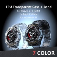 tpu transparent watch band case for huawei gt2 gt 2e 46mm breathable bracelet straps set for huawei magic2 watch accesorios