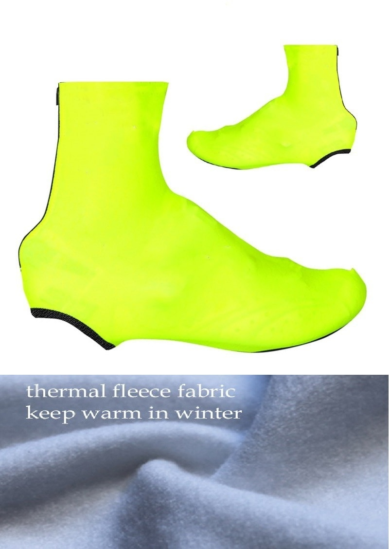 Invierno Polar térmico 2019 FLUO amarillo ciclismo Shoe Cover Sneaker Overshoes Lycra carretera bicicleta MTB ciclismo Shoe Cover