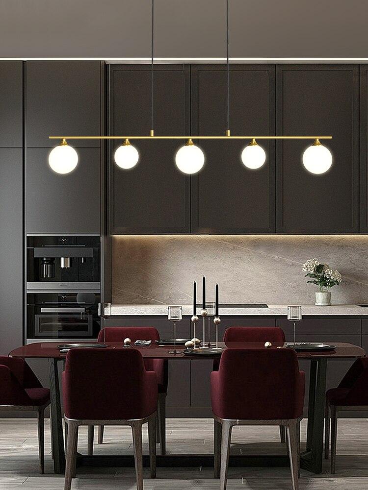 الحديثة بسيطة الذهبي/أسود LED الثريا المطبخ الإضاءة الشمال غرفة الطعام جزيرة كرة زجاجية مصابيح تعليق للزينة