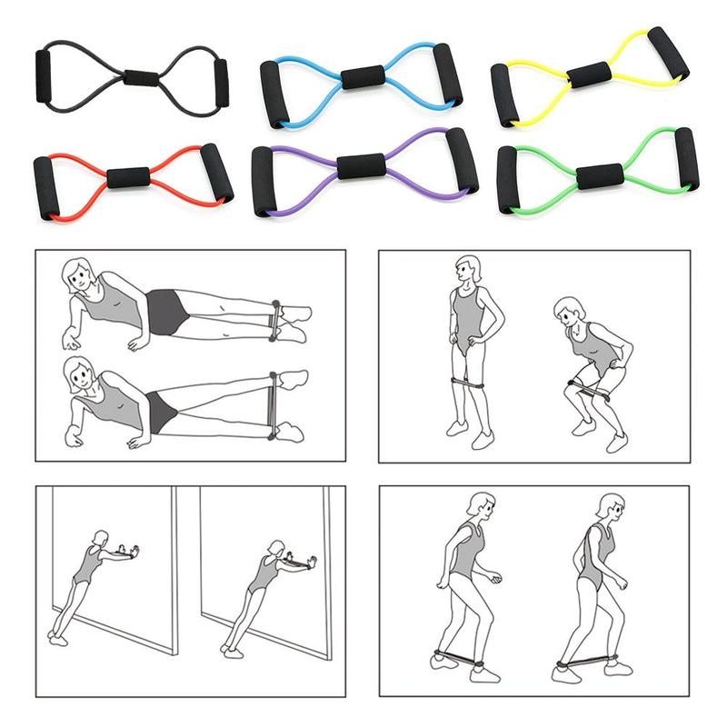 Купить с кэшбэком 8 Word Fitness Rope Resistance Bands Rubber Bands for Fitness Elastic Band Fitness Equipment Expander Workout Exercise Training