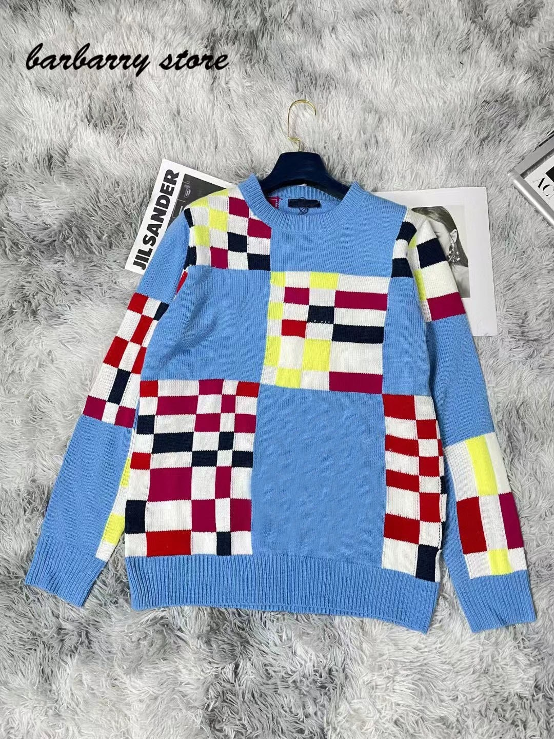 2021 luxury design high-end letter embroidery fashion long sleeve Pullover checkerboard versatile round neck knitted sweater enlarge