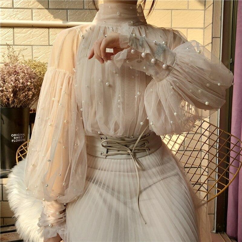 ¡Novedad de 2020! Blusas de gasa con botones de perlas y mangas de burbujas con cuentas dulces para primavera para mujer, Blusas elegantes de malla para mujer, Blusas, Tops