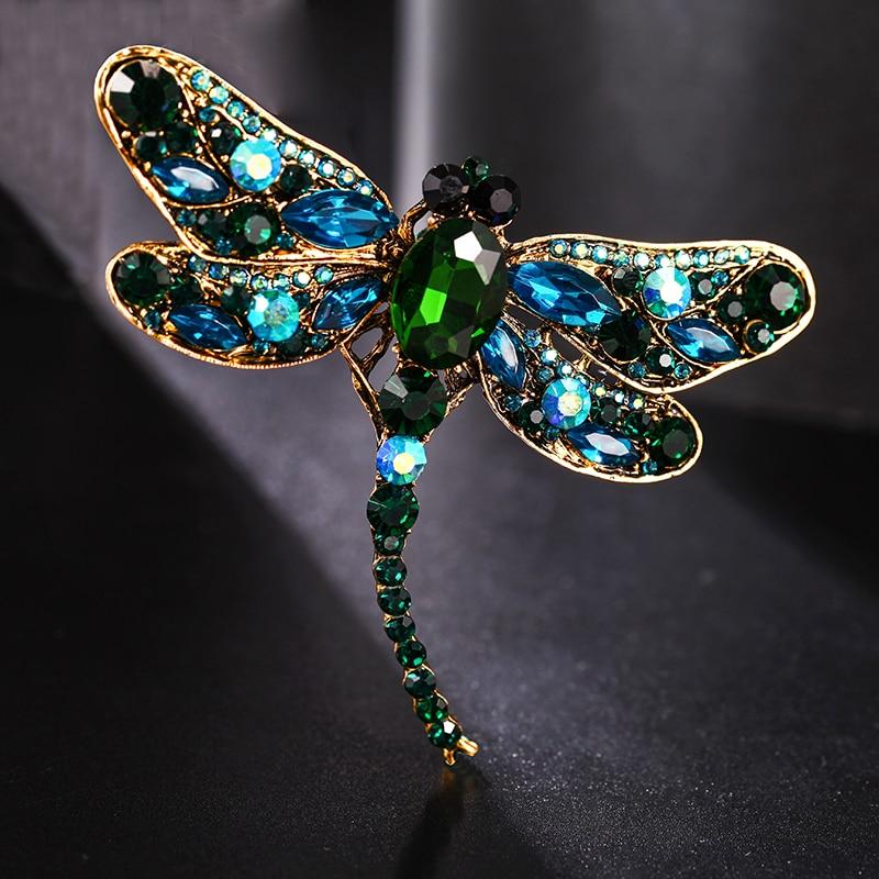 ¡Novedad de 2020! Broches de diamante libélula de cristal brillante para mujer, broche de bufanda para vestido, broches de diseño Vintage para mejor amigo