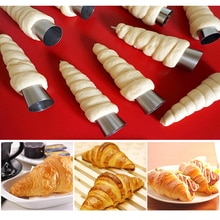 5PCS Konischen Rohr Kegel Roll Formen Edelstahl Spirale Croissants Formen Gebäck Creme Horn Kuchen Brot Form