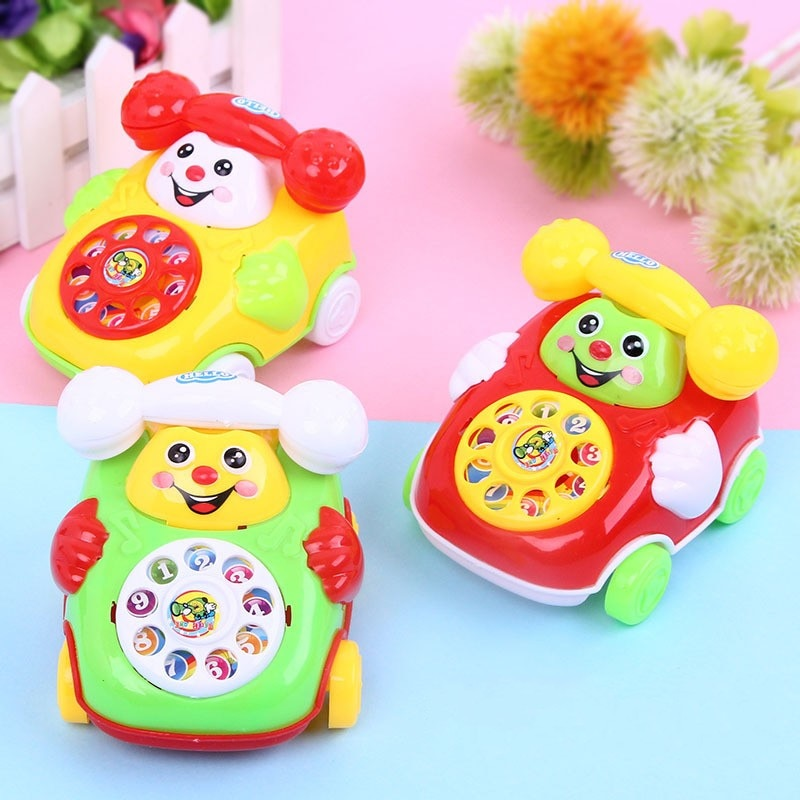Children's Simulation Phone Toys Clockwork Baby Cartoon Pull Line Phone Gift Develop Intelligence Education Wind Up Toys For Kid
