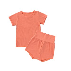 Flofallzique Baby Cotton Solid Color Girl Suit Round Neck Short Sleeve Outdoor Leisure And Comfortable Home Clothes