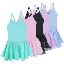 Summer Kids Girls Spaghetti Straps Solid Color Chiffon Ballet Tutu Dress Gymnastics Leotard Child St