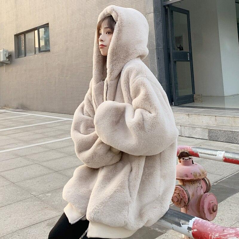 Abrigo de piel de zorro de imitación con capucha de gran tamaño de moda de invierno chaqueta de piel falsa de manga larga con costuras gruesas ropa de abrigo suelta F2036
