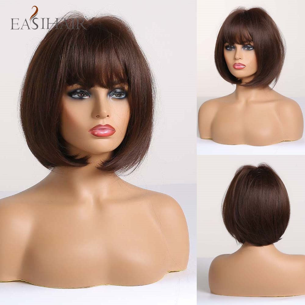 EASIHAIR Short Straight Synthetic Wigs with Bangs Classic Brown Bob Hairstyle for Afro Women Natural Cosplay Fiber Wigs