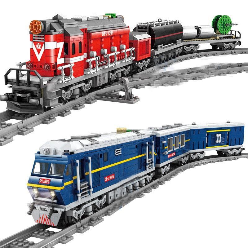 QWZ новый городской поезд с мощным дизельным рельсом, грузовой с дорожками, набор моделей, технические строительные блоки, игрушки для детей