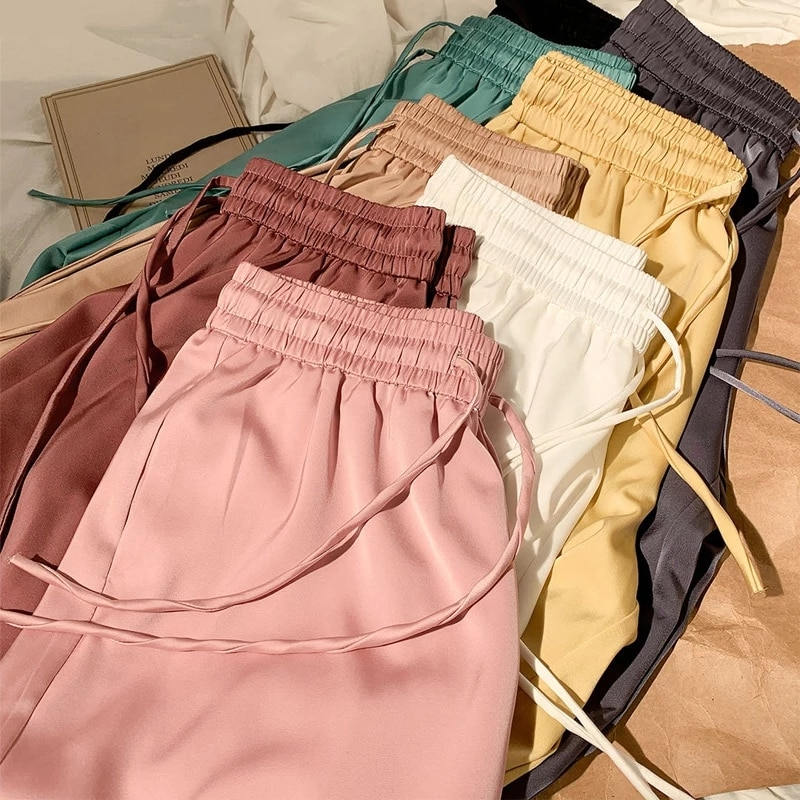 Pantalones de pierna ancha de verano para mujer, pantalones largos holgados informales de cintura alta elástica a la moda de 2020, pantalones de seda de leche, pantalones para mujer G1506