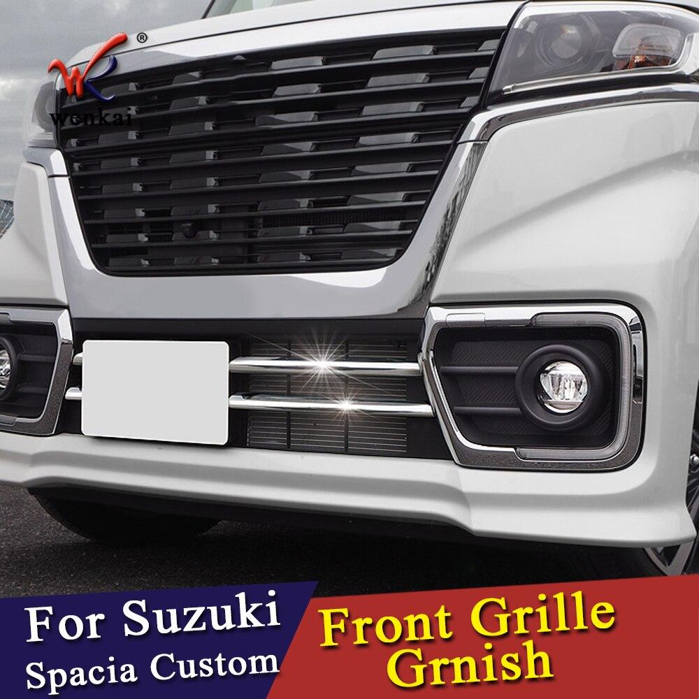 Embellecedor de rejilla delantera ABS cromado para Suzuki Spacia Custom MK53S accesorios de coche