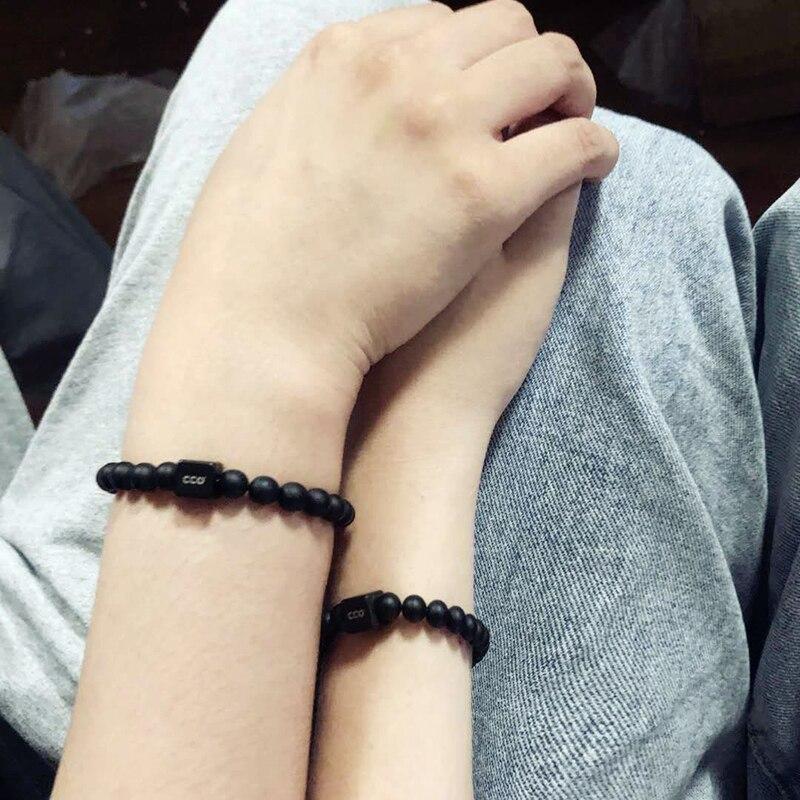 Natural volcano stone 6mm beads lucky Bracelet Personalized Custom letter logo handmade men charm Couple bracelets women jewelry