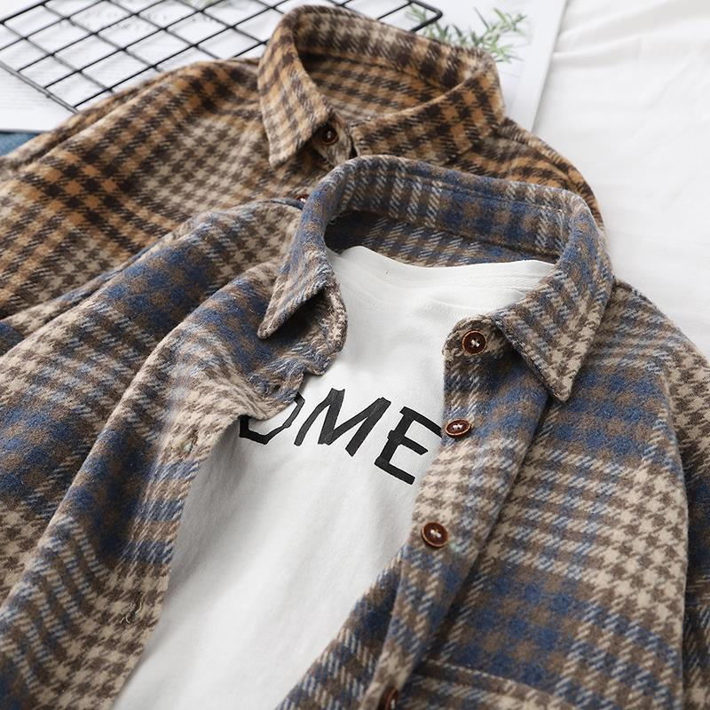 Blouse Women Vintage Top Chemise Carreaux Femme Street Style Long Sleeve T-shirts Longue Spring Clothes for