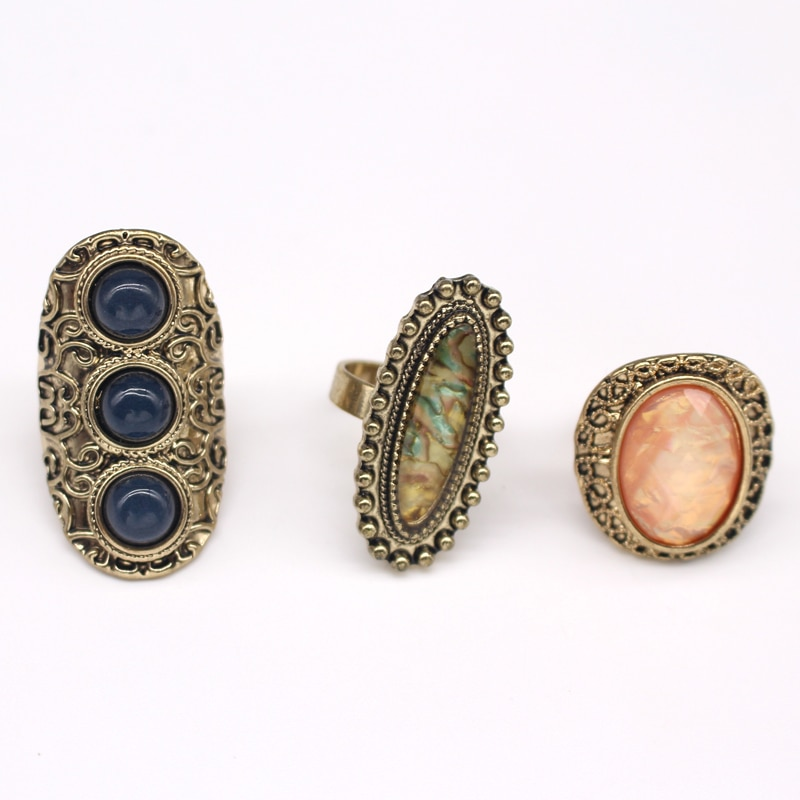 Juego de anillos de cristal redondo bohemio Vintage de 3 uds para mujer, anillo de dedo ovalado de resina de bronce tibetano étnico, regalo de joyería India R240