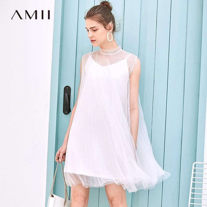 AMII Summer Lady Dress Short Style No Sleeves Mesh Short Hollow Fashion Sling Female Dress 11930115