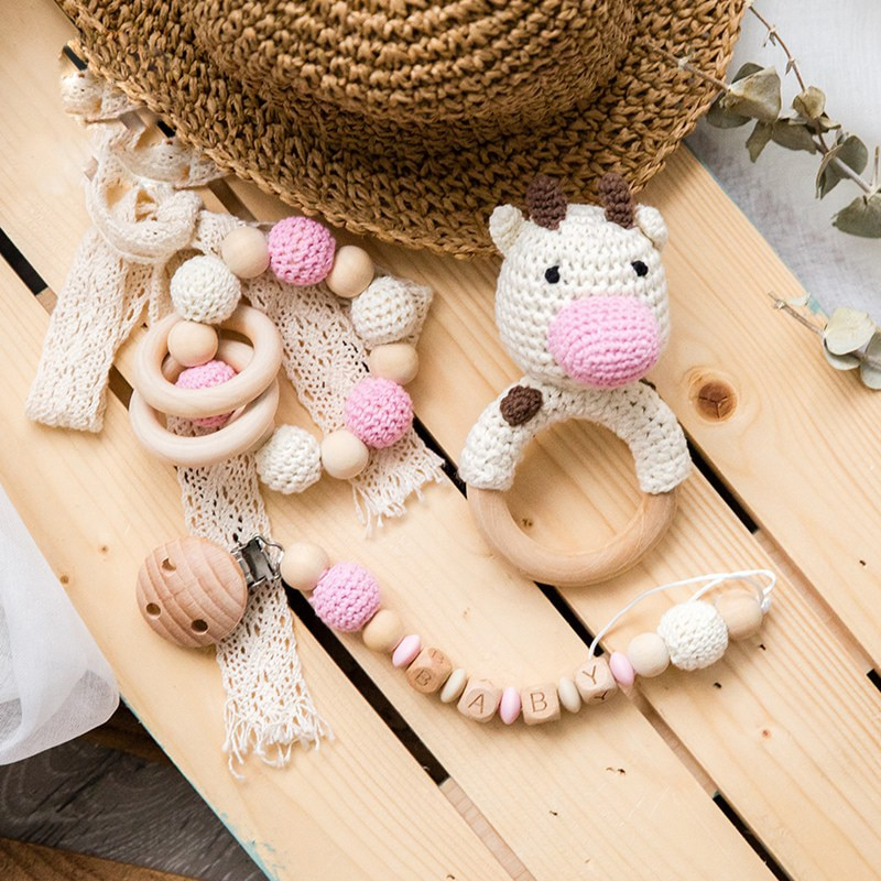 1Set Baby Rattles Crochet Amigurumi Elephant Owl Rattle Bell Custom Newborn Pacifier Clip Montessori Toy Educational Baby Rattle baby toys 1set crochet amigurumi elephant owl rattle bell custom newborn pacifier clip montessori toy educational baby rattle