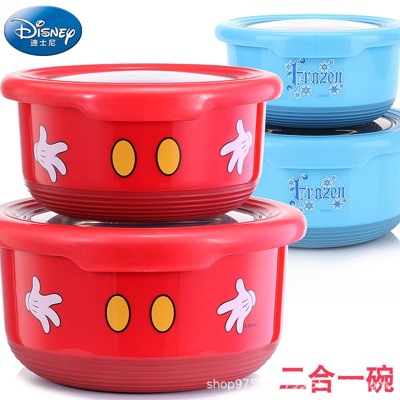 Disney children's bowl tableware stainless steel bowl with lid baby bowl baby home cute anti-fall toddler eating bowl