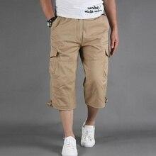 Summer Men's Casual Cotton Cargo Shorts Overalls Long Length Multi Pocket Hot breeches Military Capr