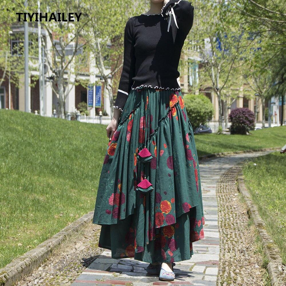 Tiyihaely شحن مجاني كبير تنحنح طويل ماكسي ألف خط مرونة الخصر المرأة القطن الكتان طباعة زهرة S-2XL تنورة عالية الجودة الصينية