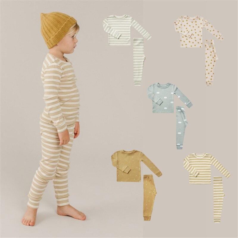 EnkeliBB طفل ماركة بيجامة مجموعات Cru الأطفال صبي وفتاة جميلة النوم مجموعات جودة المنزل مجموعات للطفل صبي وفتاة