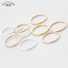 Genuino real puro sólido 925 anillos de plata esterlina para la joyería de las mujeres de oro conectores vacíos redondos mujer dedo anillo partido Bague tamaño de China