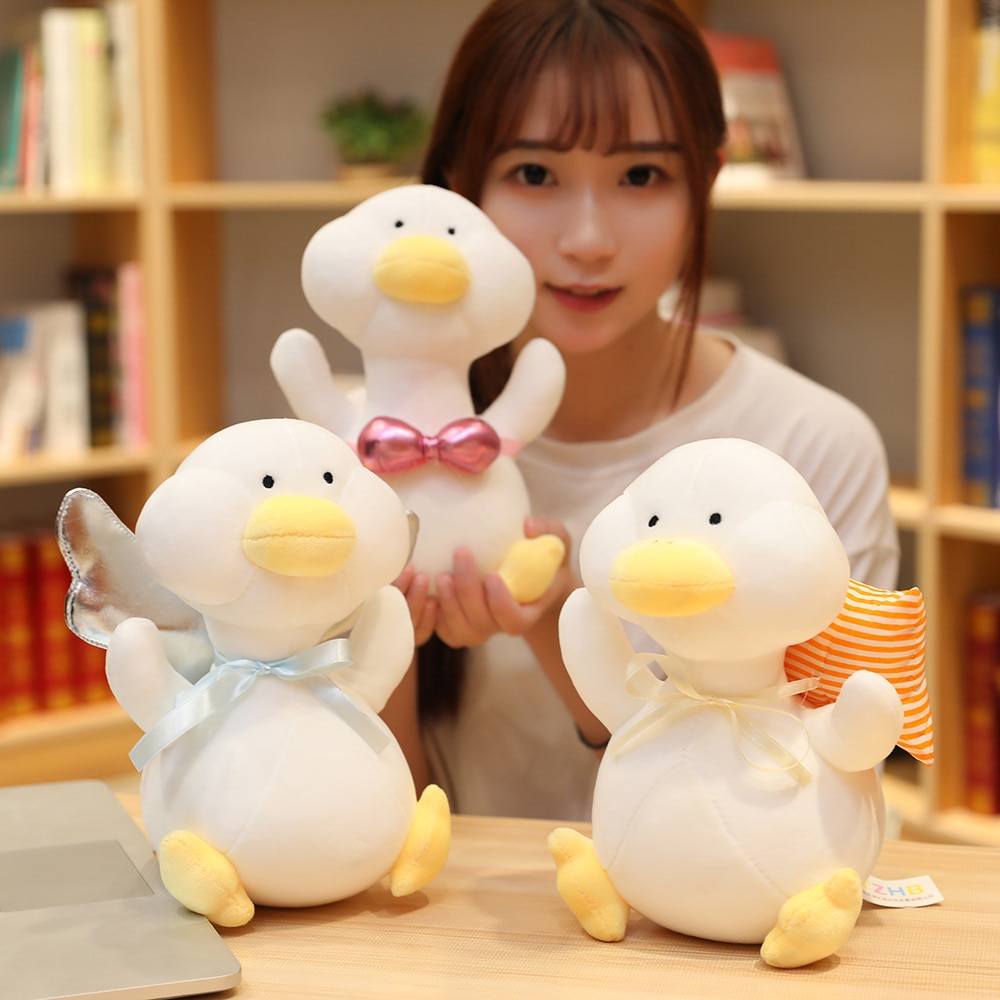 25cm free shipping kawaii cat plush pillow with zipper pp cotton biscuit shape plush animal doll toy children s christmas gift 25cm Free Shipping Kawaii Duck Plush Toy Doll Child Pillow Child Toy Girlfriend Christmas Gift Birthday Gift Cartoon Plush Doll