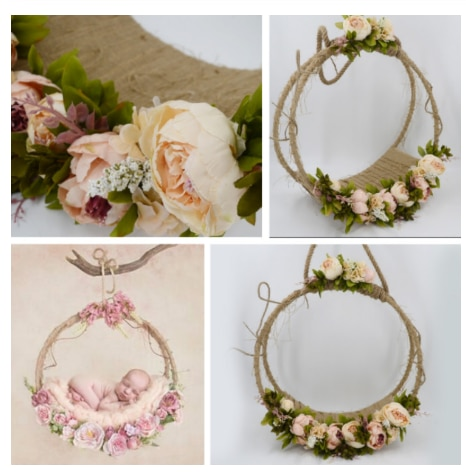 Newborn Photography Props Baby Photo Swing Infant Posing Flower Basket Baby Shoot Accessories For Studio New Type