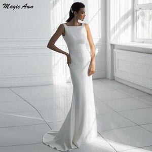 Magic Awn Simple Satin Mermaid Wedding Dresses Beach Sleeveless Backless Boho Wedding Party Dress Cheap Vestidos De Fiesta