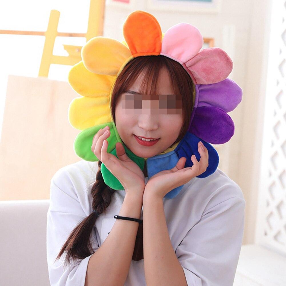 Funny Plush Toys for Kids Girls Lovely Christmas Gift Party Dolls Creative Sun Flower Headgear Staffed Soft Cap