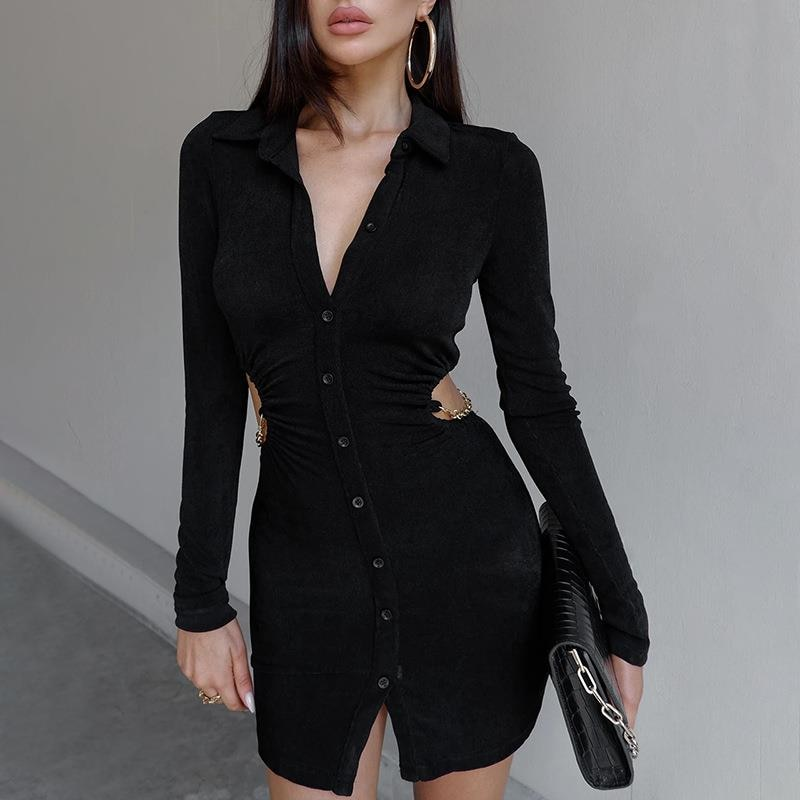Fashion Women Dress Hollow Buttons Slim Sexy Dress Solid Color Temperament Shirt Dress Female Pleated Long Sleeve Ladies Dress
