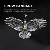 domineering retro silver color crow pendant necklace for motorcycle party men women necklace long chain fashion jewelry gifts