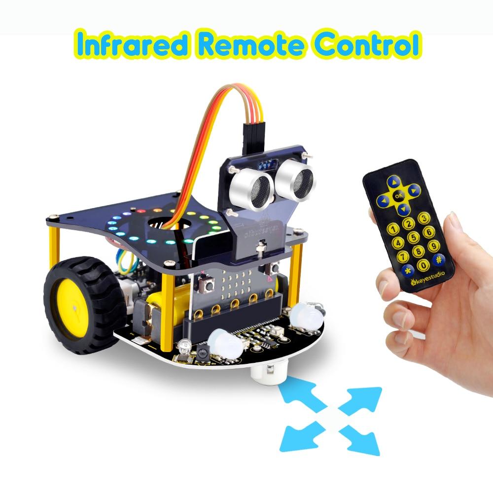 Keyestudio Mini الذكية مايكرو بت V2 سيارة روبوت للمايكرو: بت سيارة روبوت عدة البرمجة الرسومية اللعب الإلكترونية لتقوم بها بنفسك (لا بطارية)