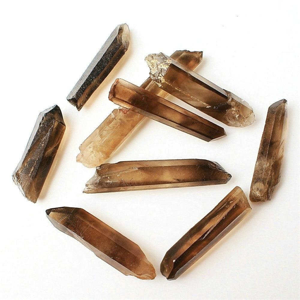 Varita de cristal ahumado Natural de 30g/50g, espécimen de cristal en bruto Mineral de punto de cuarzo de semilla Lemuriana