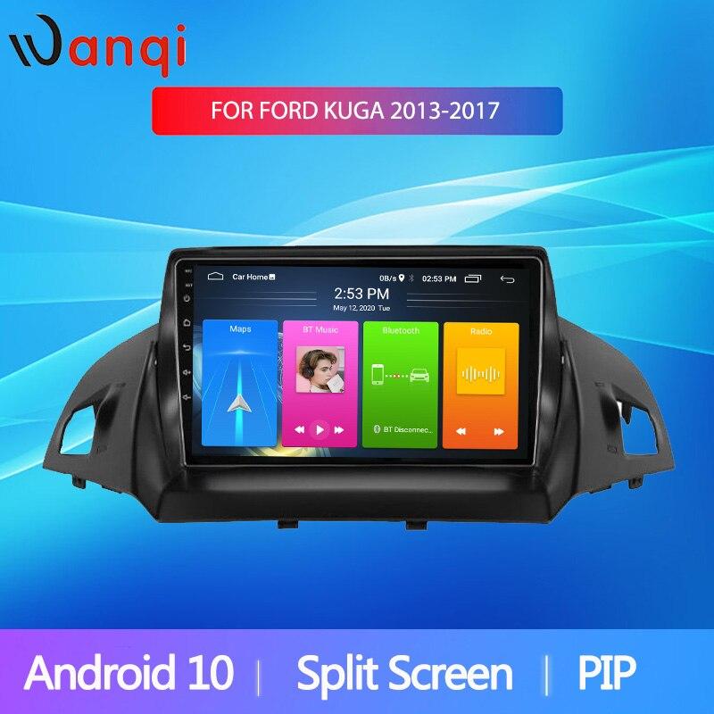 Wanqi Android10 Radio de coche pantalla dividida para Ford Kuga Escape 2013-2017 GPS navegador estéreo reproductor Multimedia BT WIFI nodvd 2din