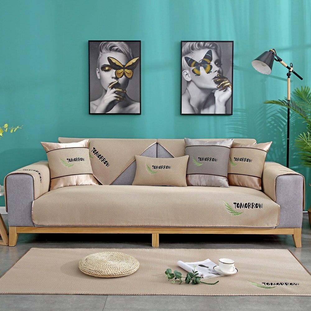 Funda de sofá para sala de estar, cojín de toalla de sofá nórdico de tela de silicona suave para disipar el calor en verano, alfombrilla de refrigeración por hielo, funda protectora
