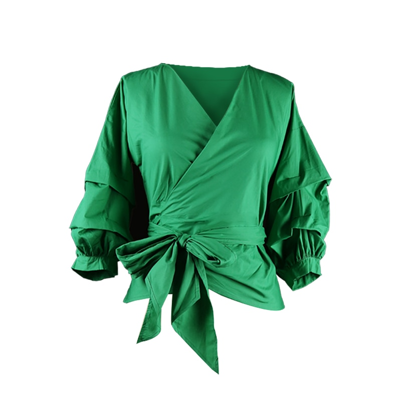 Sexy V Neck Women Casual Shirts with Belt Sashes Peplum Half Sleeves Green Half Sleeve Clubwear Party Fashion Female Tops Shirts army green v neck half sleeves curved hem blouses