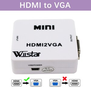 Wiistar 1080P HDMI to VGA Converter With Audio Out HDMI2VGA Adapter Connector For PC Laptop to HDTV Projector Converter