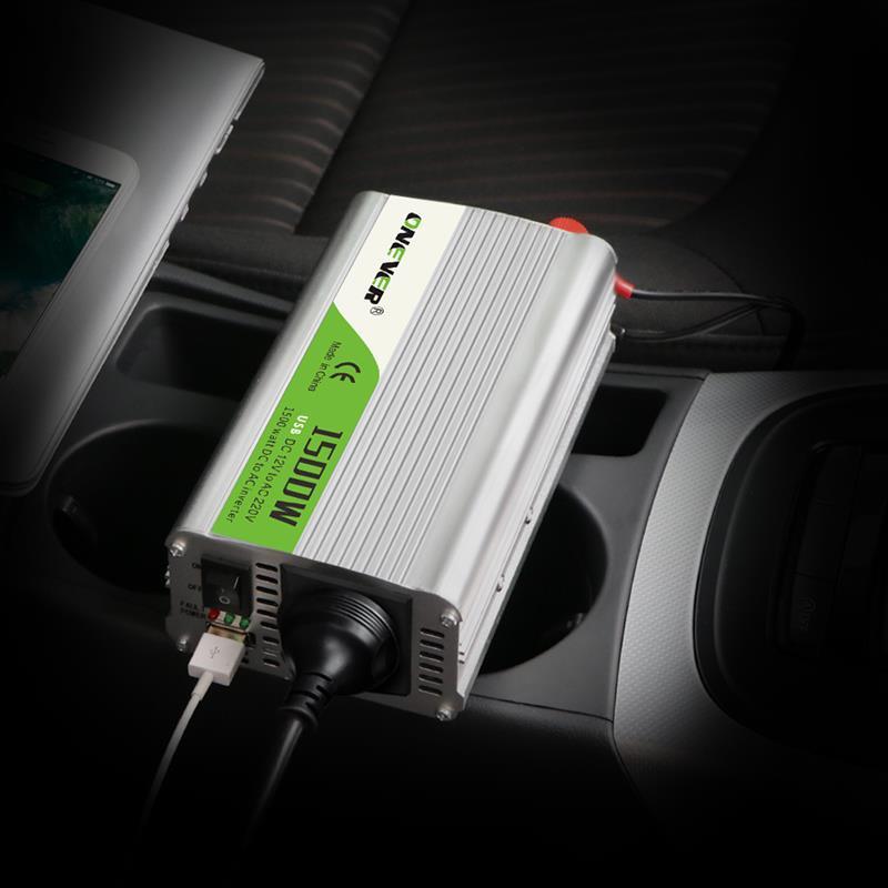 جديد سيارة العاكس 1500 واط تيار مستمر 12 فولت إلى التيار المتناوب 220 فولت محول طاقة مع مؤشر LED ضوء ولاعة السجائر منفذ الجرس إنذار رائجة البيع