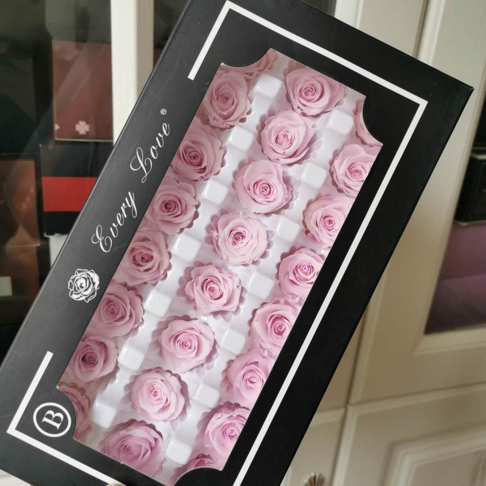 2CM/24 uds, grado B Mini cabeza de Rosa preservada, La Bella y La Bestia Rosa eterno, Rosa eterna para regalo de San Valentín, decoración de boda