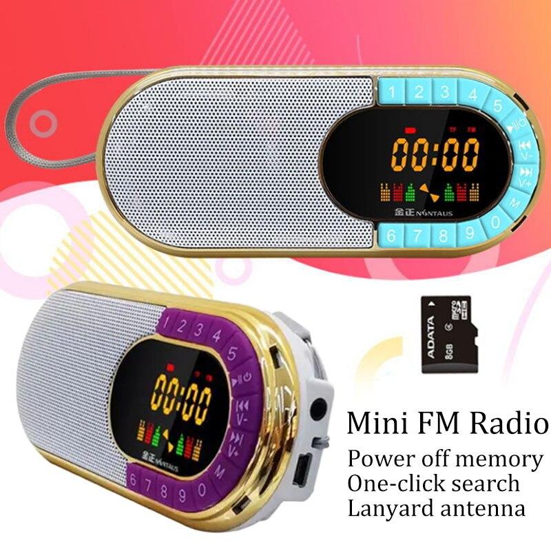 Mini rádio fm receptor portátil leitor de música com display led tela fone de ouvido jack suporte tf cartão bateria recarregável